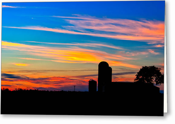 Colorful Farm Scene - Georgia Sunset Greeting Card