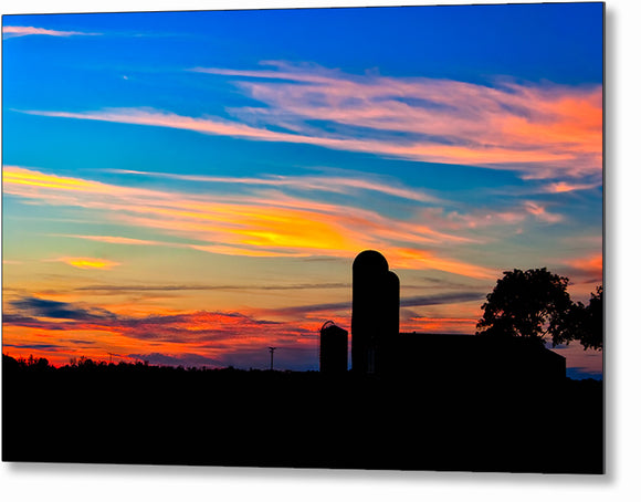 Colorful Farm Scene - Georgia Sunset Metal Print