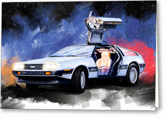 DeLorean DMC-12 - Classic Car Greeting Card