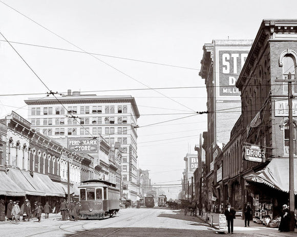 Downtown Birmingham Alabama - A Century Ago - Art Print