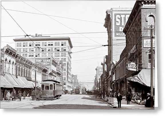 Downtown Birmingham Alabama - A Century Ago - Greeting Card