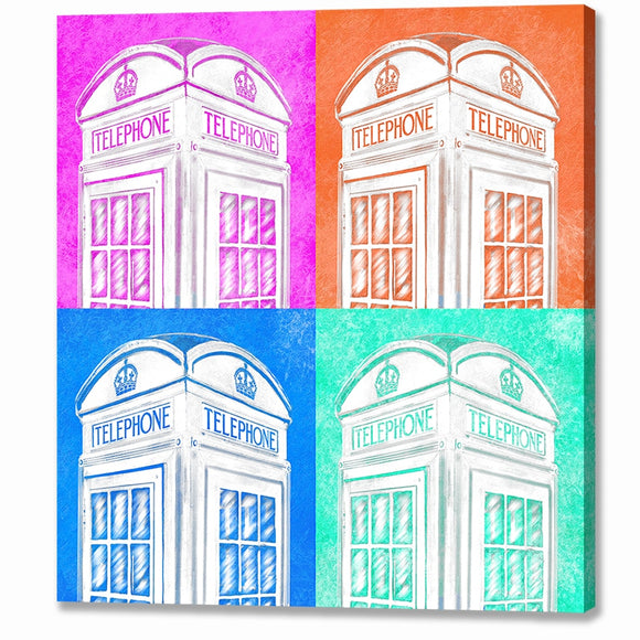 English Phone Booth - Pop Art Style Canvas Print