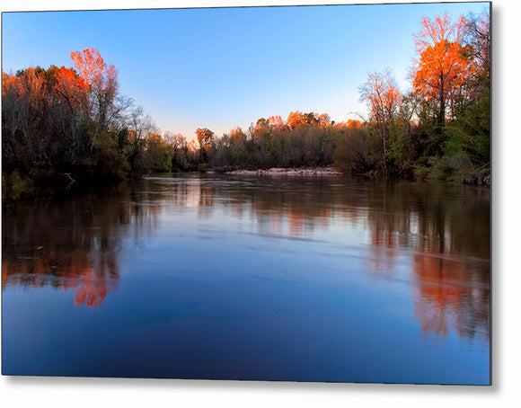 Fall Landscape - Flint River Metal Print