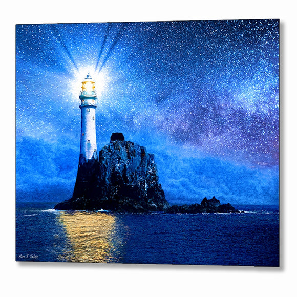 Fastnet Lighthouse At Night - Irish Metal Print
