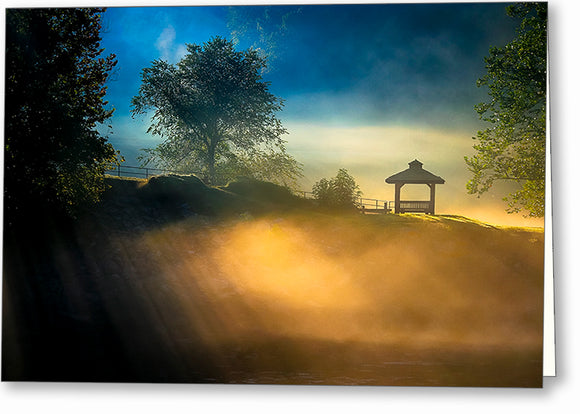 Foggy Sunrise Landscape - Georgia Greeting Card