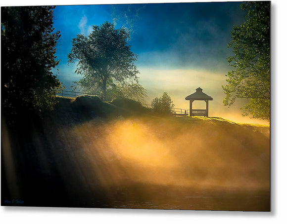 Foggy Sunrise Landscape - Georgia Metal Print