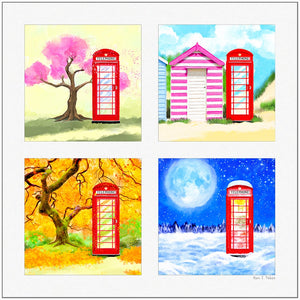Four Seasons In Britain - Red Telephone Box Art Print
