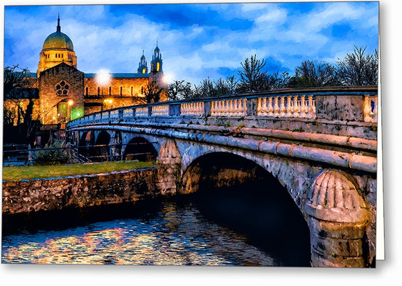 Galway Cathedral - Ireland Dusk Greeting Card