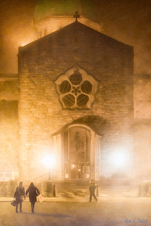 Galway's Cathedral At Night - Foggy Irish Art Print
