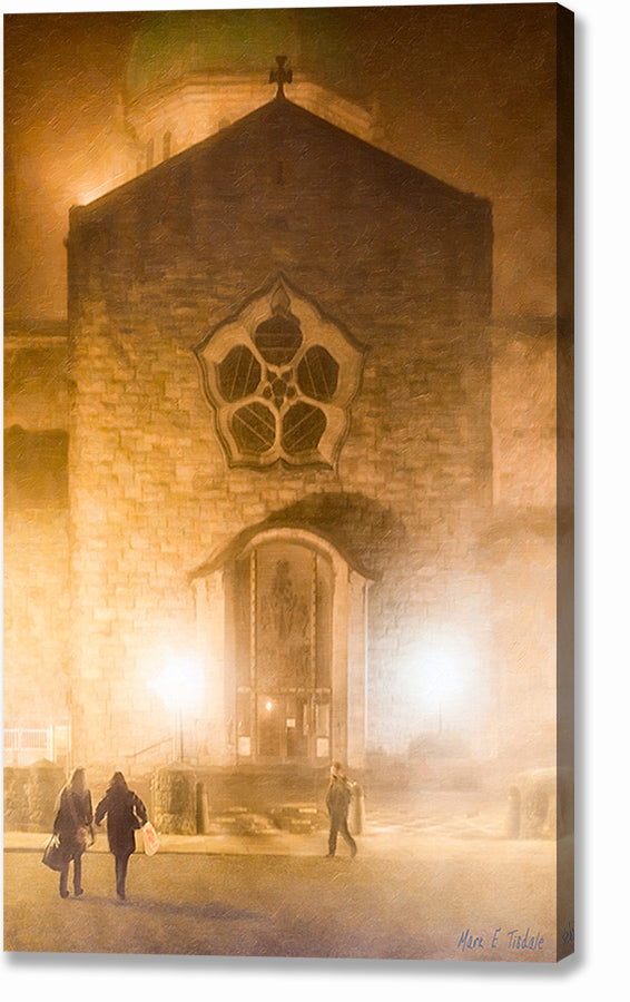 Galway's Cathedral At Night - Foggy Irish Canvas Print