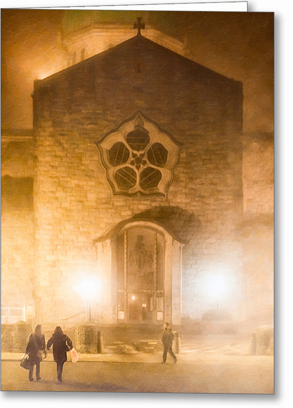 Galway's Cathedral At Night - Foggy Greeting Card