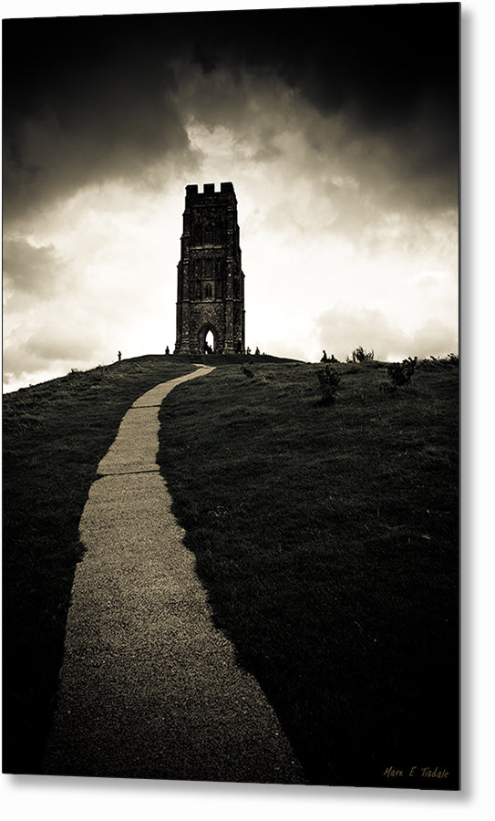 Glastonbury Tor - Black and White Metal Print