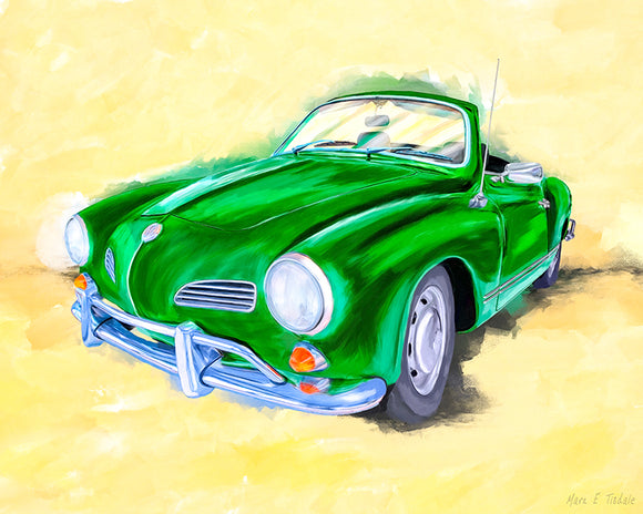 Green Karmann Ghia - Classic Car Art Print