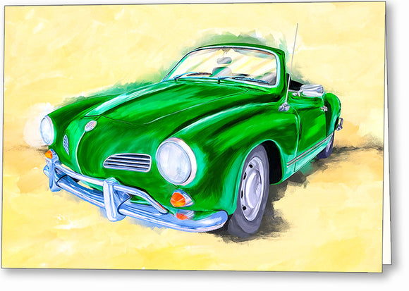 Green Karmann Ghia - Classic Car Greeting Card