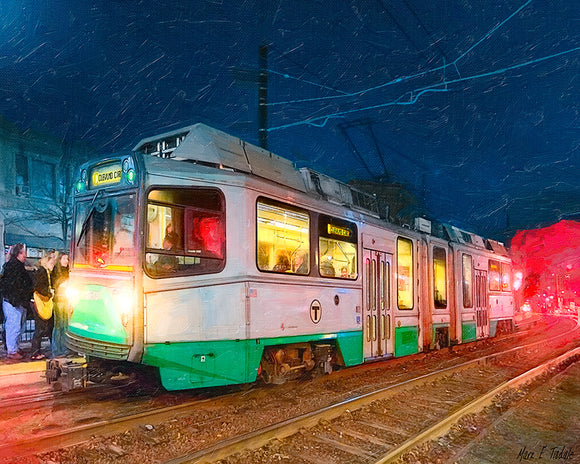 Green Line At Night - Boston Art Print