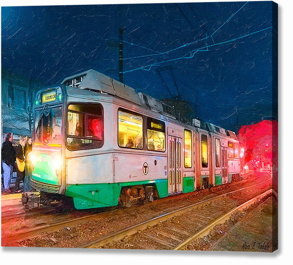 Green Line At Night - Boston Canvas Print