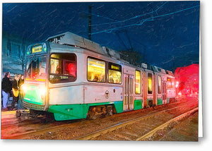 Green Line At Night - Boston Greeting Card