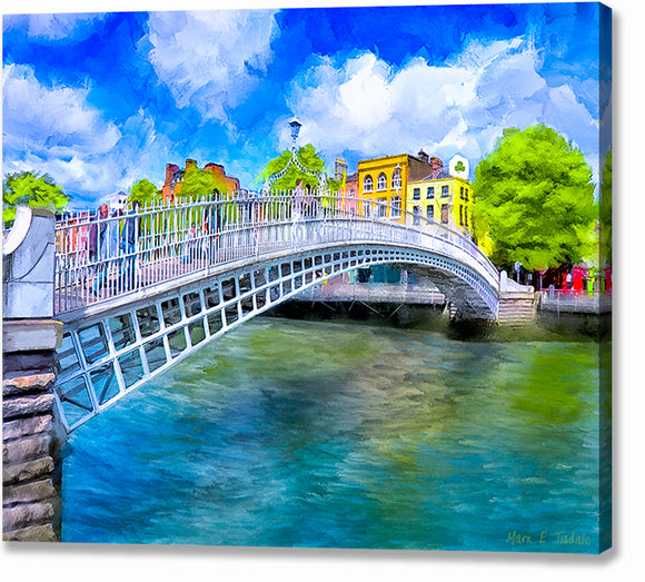 Ha'penny Bridge In Spring - Dublin Canvas Print