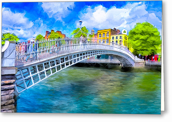 Ha'penny Bridge In Spring - Dublin Greeting Card