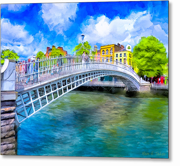 Ha'penny Bridge In Spring - Dublin Metal Print