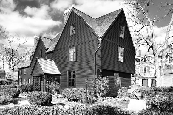 House Of The Seven Gables - Black And White Salem Art Print