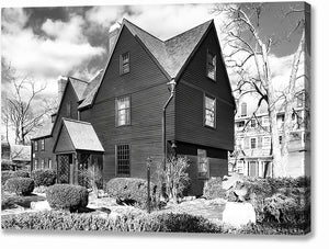 House Of The Seven Gables - Black And White Salem Canvas Print
