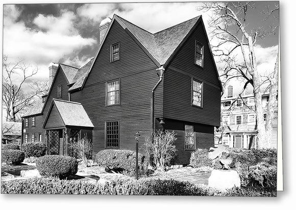 House Of The Seven Gables - Black And White Salem Greeting Card