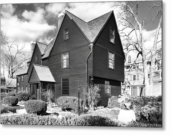 House Of The Seven Gables - Black And White Salem Metal Print