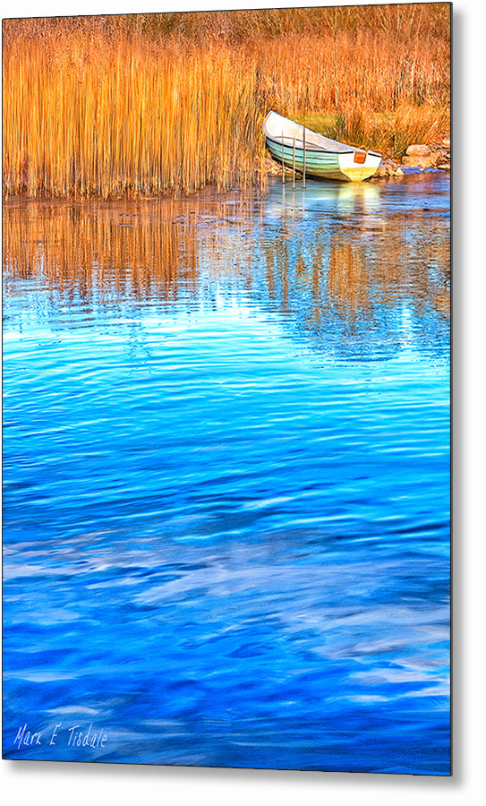 Irish Boat On The River Shore - Galway Metal Print