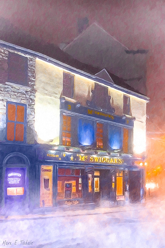 Irish Pub In The Fog - Galway Ireland Art Print
