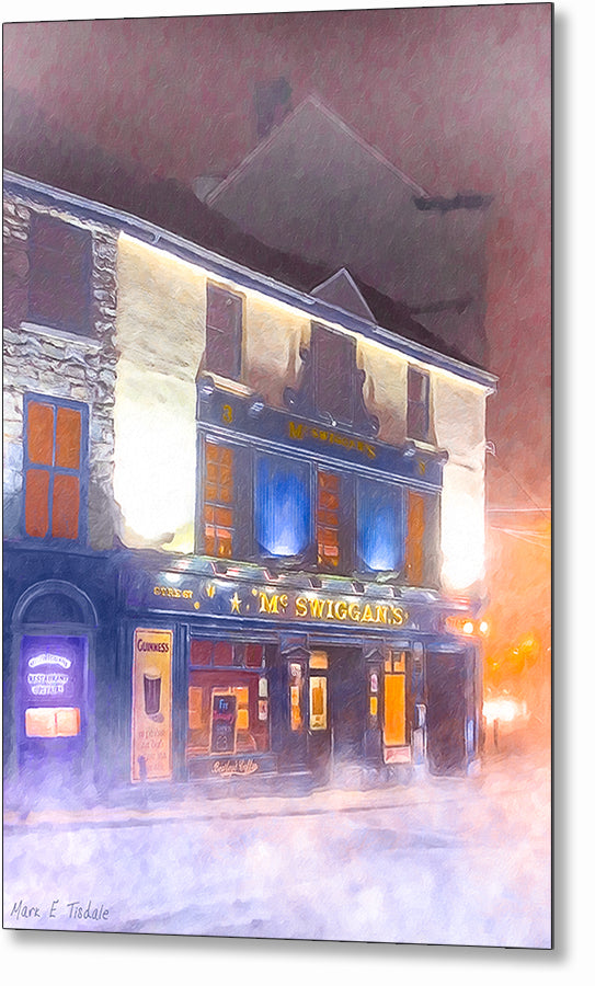 Irish Pub In The Fog - Galway Ireland Metal Print
