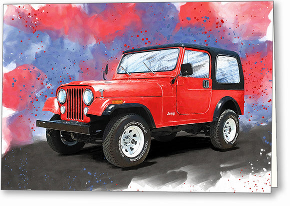 Jeep CJ-7 - Classic Automotive Greeting Card