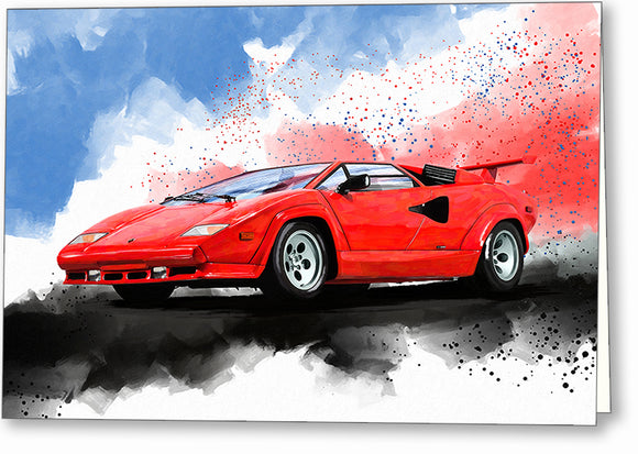 Lamborghini Countach - Classic Car Greeting Card