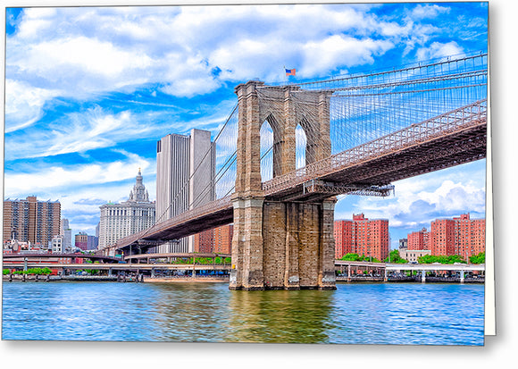 Landmark Brooklyn Bridge - New York City Greeting Card