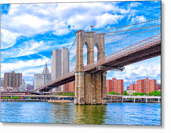 Landmark Brooklyn Bridge - New York City Metal Print
