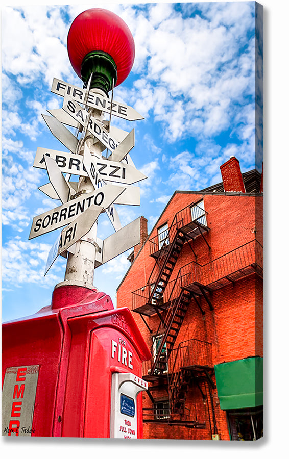 Little Italy Sign - Boston North End Canvas Print