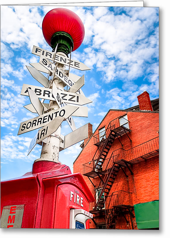 Little Italy Sign - Boston North End Greeting Card