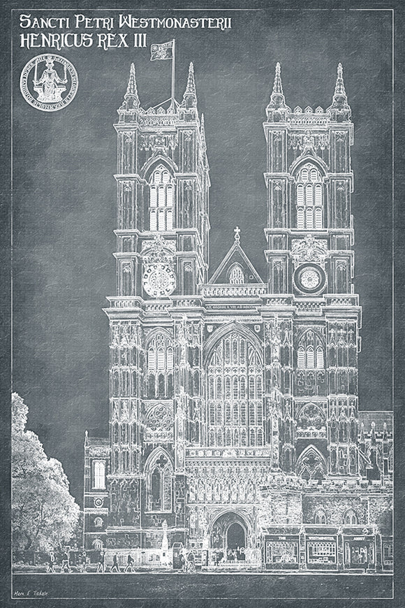 London Architecture Blueprints - Westminster Abbey Art Print