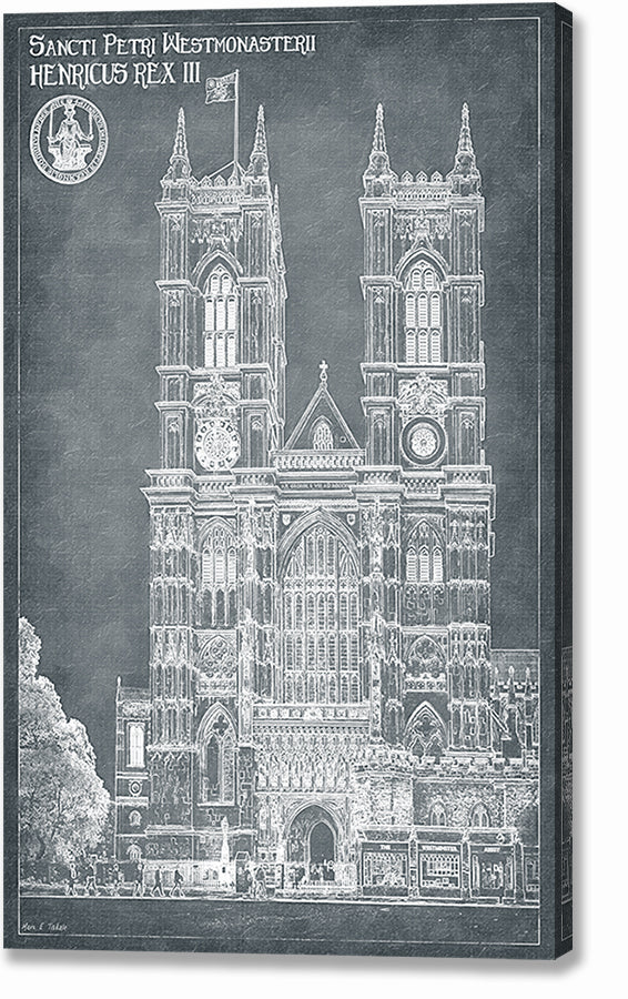 London Architecture Blueprints - Westminster Abbey Canvas Print