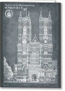 London Architecture Blueprints - Westminster Abbey Greeting Card