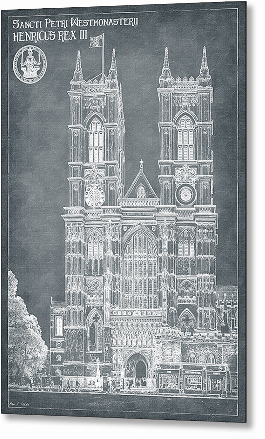 London Architecture Blueprints - Westminster Abbey Metal Print