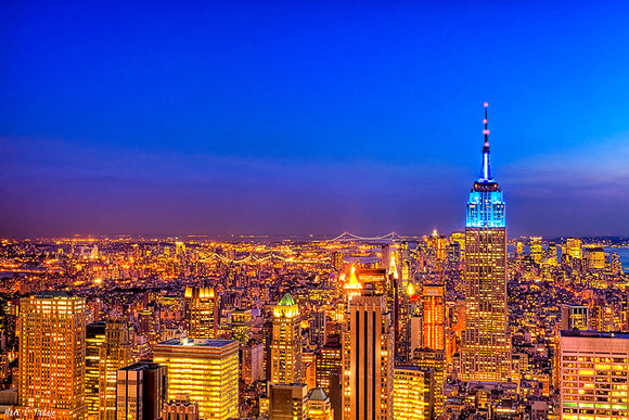 Manhattan Skyline At Night - New York City Art Print