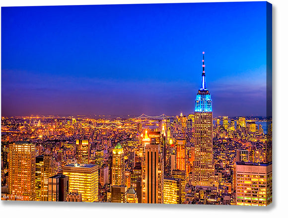 Manhattan Skyline At Night - New York City Canvas Print