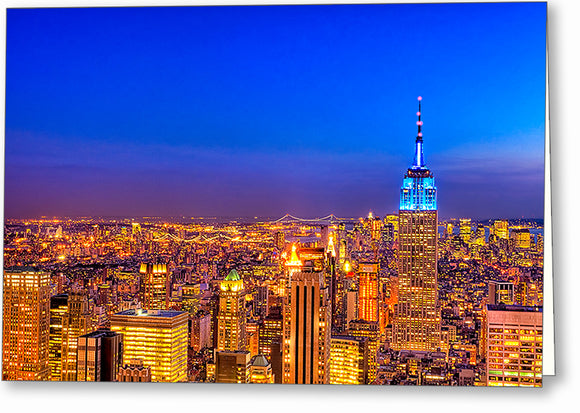 Manhattan Skyline At Night - New York City Greeting Card