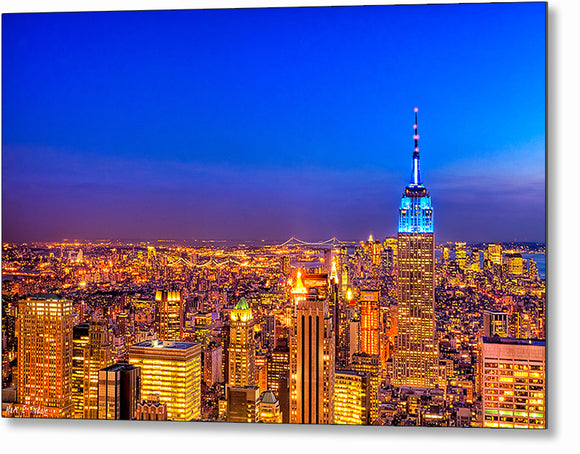Manhattan Skyline At Night - New York City Metal Print