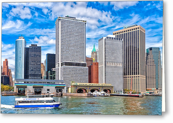 Manhattan South Ferry - New York City Greeting Card