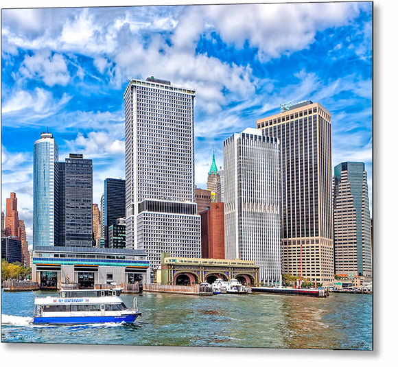 Manhattan South Ferry - New York City Metal Print