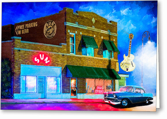Memphis At Night - Sun Studio Greeting Card