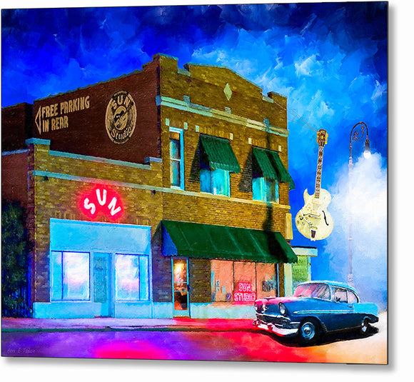 Memphis At Night - Sun Studio Metal Print