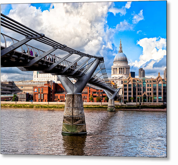 Millennium Bridge - London Architecture Metal Print